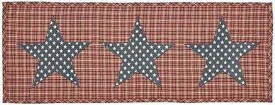 INDEPENDENCE Red & Tan Plaid with Navy & White Stars Table Runner 13