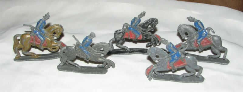 5 Vintage Cast Metal Knights on Horses with Lances for Jousting Soldiers Paint