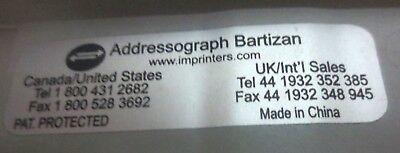 Addressograph Bartizan 4850 Flatbed Credit Card Imprinter Ker-chunk Machine