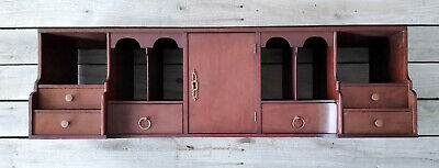 Antique Vintage Office Secretary Desktop File Cabinet Organizer W Drawers Lock