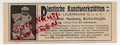 DETMOLD HAMBURG, Werbung 1913, ALB. Lauermann GmbH Plastische Kunst-Werkstätten