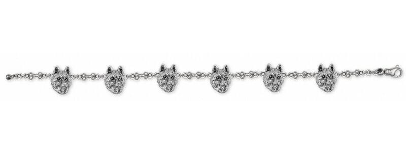Siberian Husky Bracelet Jewelry Sterling Silver Handmade Dog Bracelet SB3-BR