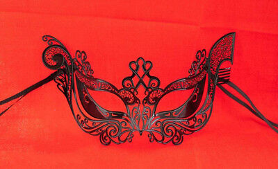 Mask Lace - Metal of Venice Gondola Glossy Black Fancy 721
