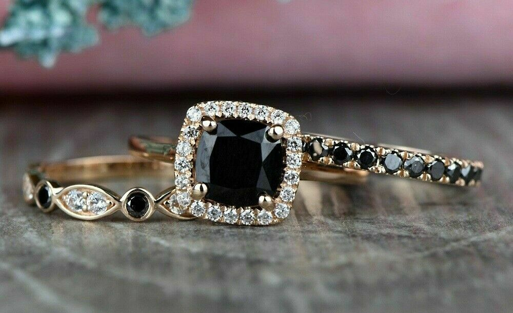 14k Real White Gold 2.60 Ct Round Cut Diamond Bridal Band Engagement Ring Set