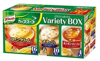 Knorr Instant Cup Soup Variety Box 30 bags Corn Cream / Onion Consomme / Potage