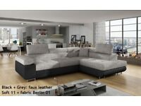 SPECIAL OFFER Corner SOFA BED anton Storage Container Sleep Function