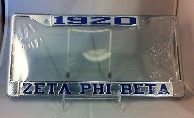 Zeta Phi Beta Sorority Founding Year License Plate Frame- Silver/Blue- New! (New Years Frames)