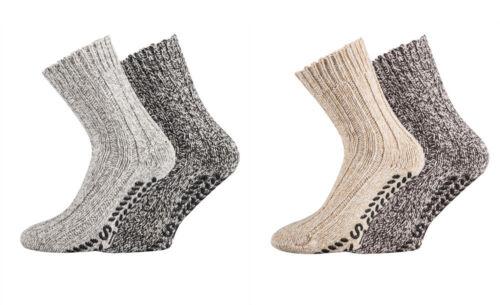 ABS-Socken Norwegersocken Wollsocken Wintersocken mit rutschfester Sohle 4 Paar