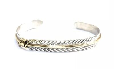 Sterling Silver Native American Design - Native American sterling silver handmade Gold Field Feather Design Cuff bracelet