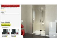 Frameless hinged Pivot shower door and screen 8mm glass
