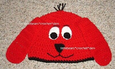 CUSTOM boutique CROCHETED CLIFFORD THE BIG RED DOG CLIFFORD Hat Beanie Costume