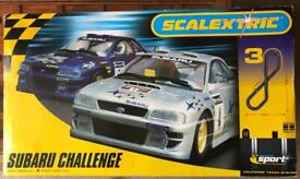 Scalextric set Subaru Challenge plus lap counter and extra track