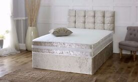 FREE AND FAST DELIVERY: Brand New Crushed Velvet Fabric Divan Bed Base With Different Mattress