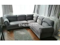 Corner sofa new and unused in a luxurious plush velour still packed can deliver.