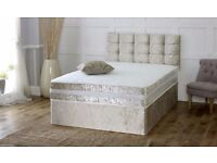 **FREE BUTTONED HEADBOARD** Devon Crushed Velvet Luxury Memory Bed with Mattress- FREE DELIVERY!
