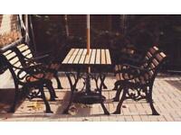 Cast iron 4 seater chair garden furniture dining set with oak slats
