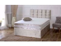Single, Double, Small Double Or king Crushed Velvet Divan Bed WITH MATTRESS