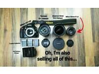 Nikon D5100 DSLR camera + lenses + batteries