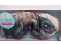 Aroma Home Cosy Friends Satin Eye Mask. Pug Design Eye Mask. New & sealed unwanted gift.