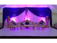 WEDDING SOFA SET - CRYSTAL PILLARS - BACKDROPS - WEDDING STAGE - CENTREPIECE -