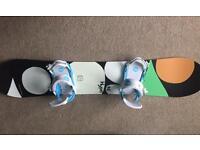 Women's Snowboard And Bindings. APO Hype 146 Snowboard. Union Milan Bindings