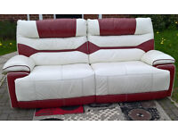 Ex-display Venus 3 Seater Red and White Leather Manual Reclining Sofa.