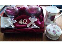 RUBY ANNIVERSARY GIFTS. CHAMPAGNE GLASS GIFT SET, BONE CHINA MUG & TRINKET POT. COLLECTION B98