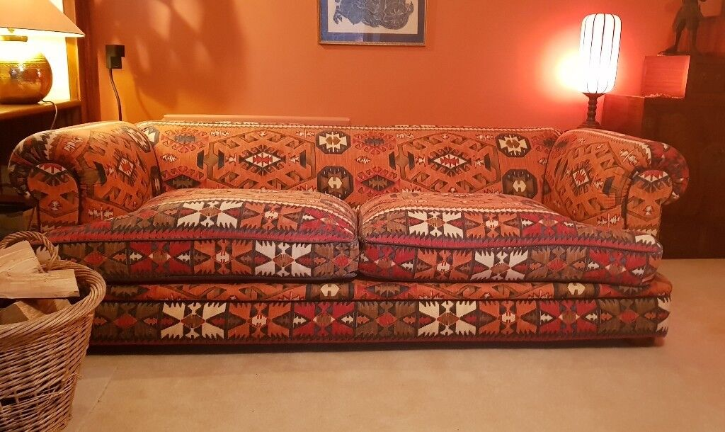 2 X Tetrad Large 3 Seater Fabric Sofas In Kilim Izmir