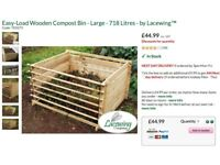 x2 Easy-load wooden compost bins (718 litres each) + covers