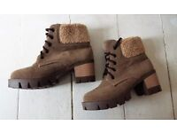 Womens Boots, 4 Brown, Combat, Fur, Lace up, Warm, Walking boot, ankle boot