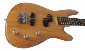 Electric Bass Guitar Solid Alder wood body natural finish HasGuitar