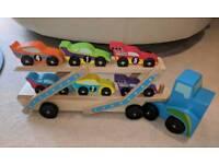 Melissa & Doug toy Race Car Carrier / Transporter