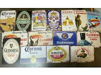 Metal beer signs, perfect for any garden shed, bar, pub, mancave