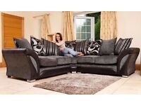 BRAND NEW DFS SHANNON CORNER/3+2 SOFA CUDDLE CHAIR FREE CUSHIONS/CHROME FEET