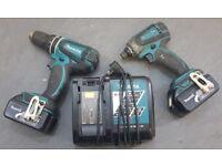 Makita LXT 18v Cordless Kit, Impact Driver, Combi Drill, 2x, 3ah batteries, fast charger.