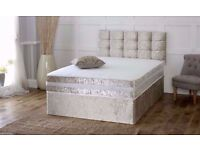 wow new design:: CRUSHED VELVET DIVAN BED + MEMORY MATTRESS + HEADBOARD 3FT 4FT 4FT6 Double 5FT