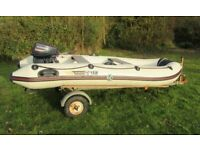 Yamaha 320s Inflatable Boat + Evinrude 15hp outboard + road trailer, used for sale  Somerton, Somerset