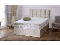BRAND NEW CRUSH VELVET DOUBLE / small DOUBLE DIVAN BED BASE WITH DIFFERENT TYPES OF MATTRESSES