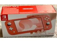 NINTENDO SWITCH LIGHT HANDHELD CONSOLE CORAL COLOUR BRAND NEW SEALED BOX, 2 YEARS WARRANTY rrp £199