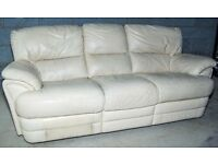 Cream Leather Recliner 3-seater sofa