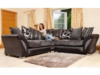 CHEAPEST PRICE -- BRAND NEW SHANNON CORNER or 3+2 SOFA IN LEATHER & FABRIC , in BLACK or BROWN