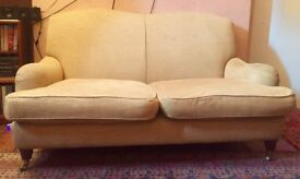 Classic *LAURA ASHLEY* 2 Seat Richmond Sofa in Gold Chenille with castors