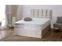 double CRUSHED VELVET DIVAN BED AND MATTRESS, SINGLE,DOUBLE AND KING SIZE AND HEADBOARD
