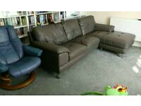 Grey Leather Corner Sofa and Cuddle Chair