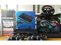 Playstation 3 500gb, 2 dualshock controllers, Thrustmaster T60 Steering wheel and 22 Games