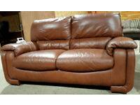 2 Seater Genuine Leather Sofa - Chocolate/Tan. Nearly new