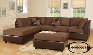 $769 - CHOCO REVERSIBLE SECTIONAL with Ottoman --- FREE Delivery !
