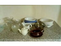 Mix of pyrex, glassware and stoneware, gravy boat, bowls etc.