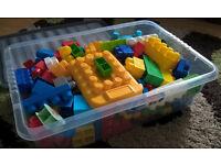 MEGA BLOKS building blocks . Whole box of them .