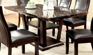 Furniture Of America CM3933T Rectangular Dining Room Table With Faux Marble  Top